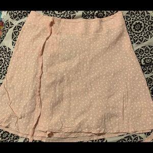 Brandy Melville Light Pink Floral Wrap Skirt